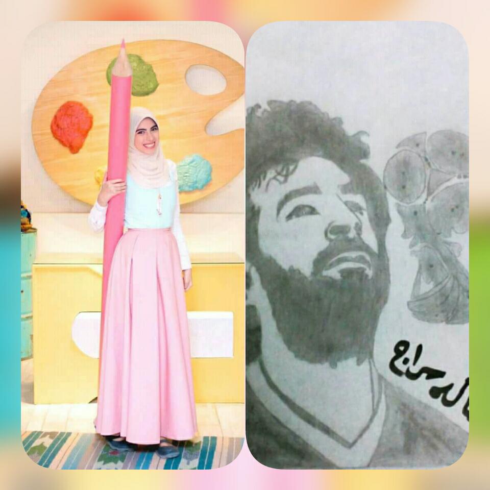 """"""" هالة سراج """" طالبة بالثانوية العامة تتألق في رسم محمد صلاح"""